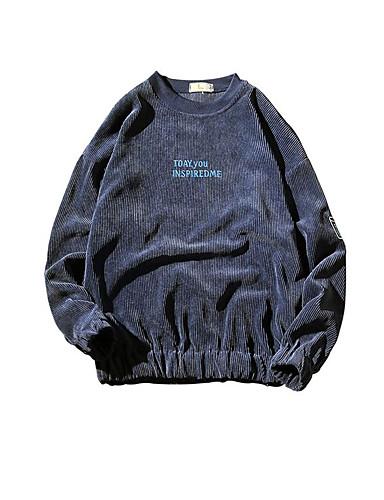 Bărbați Rotund - Mărime Plus Size Tricou Bumbac Activ / De Bază - Mată / Scrisă Imprimeu / Manșon Lung