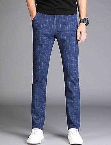 Bărbați De Bază Zvelt Pantaloni Chinos Pantaloni - Dungi Bleumarin