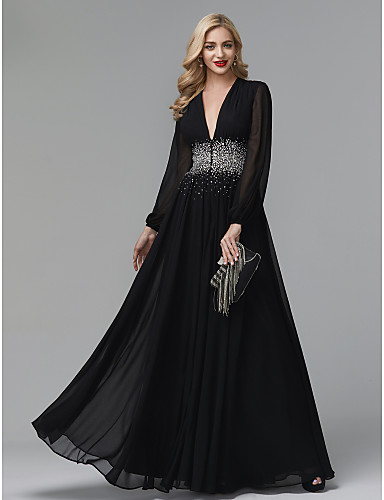 a8e1c9f220f1 Sheath / Column Plunging Neck Floor Length Chiffon Sparkle & Shine /  Celebrity Style Formal Evening Dress with Sequin / Pleats by TS Couture®