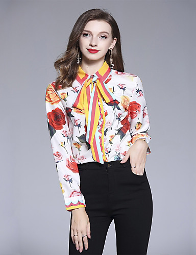 abordables Hauts pour Femmes-Chemise Femme, Fleur Imprimé Basique Col de Chemise