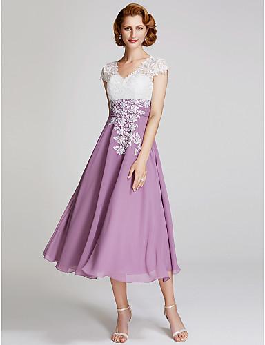 A-vonalú V-alakú Tea-hossz Sifon   Csipke Örömanya ruha val vel Csipke  által LAN TING BRIDE® a5ade7541f