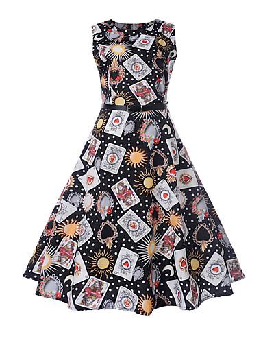 Pentru femei Ieșire Vintage / Șic Stradă Zvelt Linie A Rochie - Imprimeu, Geometric Lungime Genunchi / Primăvară / Vară