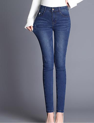Pentru femei Talie Înaltă Zvelt Blugi Pantaloni Mată
