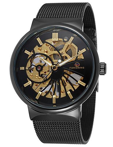 Bărbați Ceas Elegant  ceas mecanic Mecanism automat 30 m Cronograf Creative Oțel inoxidabil Bandă Analog Lux Modă Auriu - Negru / Alb Negru / Argintiu Alb / Auriu