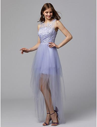 Prinsesse Scoop Neck Gulvlang Tyll Cocktailfest / Skoleball Kjole med Appliqué av TS Couture®