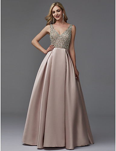 e91bb190229a Dress Barn Style A-Line V Neck Floor Length Satin   Sequined Prom   Formal  Evening Dress with Beading by TS Couture®