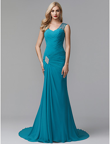 cheap Evening Dresses-Sheath / Column V Neck Court Train Chiffon Formal Evening Dress with Crystals / Side Draping by TS Couture®