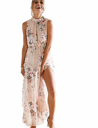192d258a0b Women s Floral Going out   Weekend Maxi Chiffon Dress High Waist Turtleneck  Cotton Beige M L XL   Sexy
