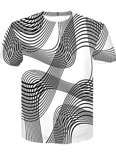 رخيصةأون تيشيرتات وتانك توب رجالي-رجالي تيشرت رقبة دائرية - أساسي / أناقة الشارع طباعة أسود و أبيض ألوان متناوبة, نادي / كم قصير