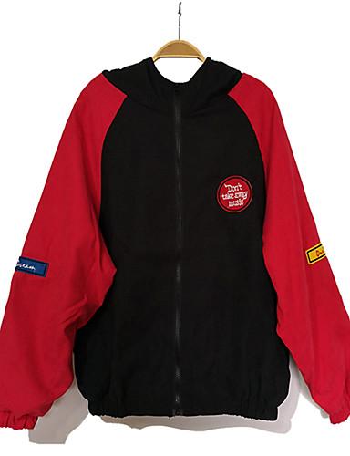 Bărbați Sport Activ Primăvară Regular Jachetă, Mată Rotund / Capișon Manșon Lung Poliester Roșu-aprins / Gri M / L / XL