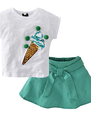 Copil Fete De Bază Fruct Imprimeu Manșon scurt Scurt Scurt Bumbac Set Îmbrăcăminte