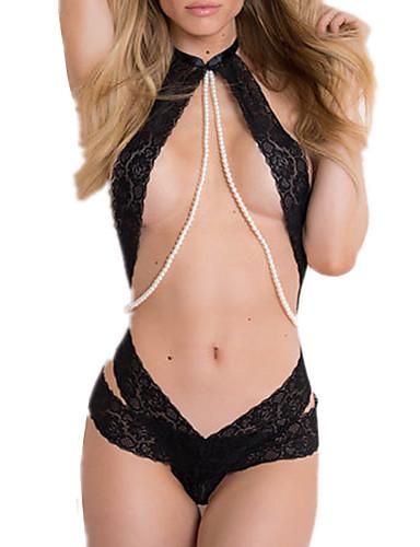 povoljno Ženska odjeća-Žene Mrežica Odijelo Noćno rublje Žakard Crn One-Size / Na vezanje oko vrata