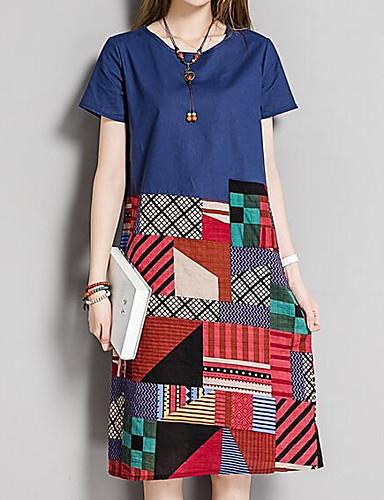 61cff4940bb Women s Plus Size Going out Weekend Vintage Street chic Loose Shift Dress -  Geometric Color Block Print High Waist Spring Green Red Navy Blue XXL XXXL  XXXXL