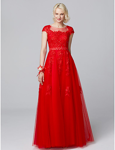 זול שמלות שושבינות ארוכות-גזרת A אשליה עד הריצפה תחרה / טול שמלה לשושבינה  עם חרוזים / אפליקציות על ידי LAN TING BRIDE®