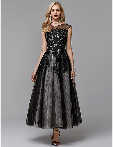 a031bdde0947 A-Line Illusion Neck Ankle Length Lace / Tulle Little Black Dress / See  Through / Keyhole Prom / Formal Evening Dress with Appliques by TS Couture®  5665318 ...