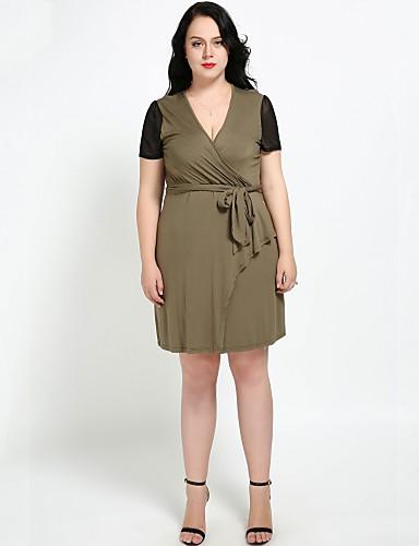 Pentru femei Vintage / De Bază Linie A / Shift Rochie - Plasă / Cu Șiret, Bloc Culoare Sub Genunchi