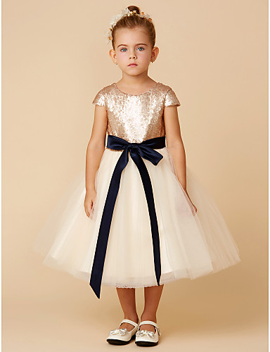 c1c4b87e6 Princess Tea Length Flower Girl Dress - Tulle / Sequined Short Sleeve Jewel  Neck with Sequin / Bow(s) / Sash / Ribbon by LAN TING BRIDE®