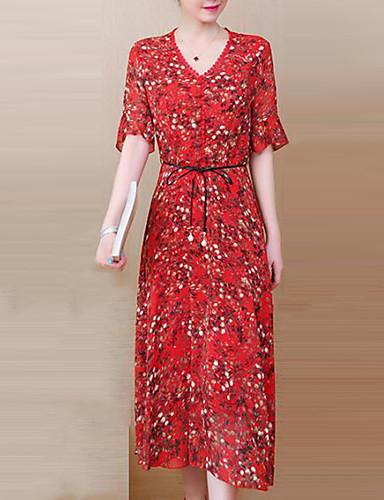 Pentru femei Șic Stradă / Sofisticat Sleeve Flare Shift Rochie Floral / Plisat Midi