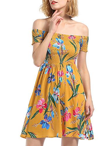 Pentru femei Linie A Rochie Bateau Lungime Genunchi / Modele florale