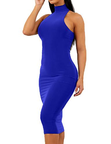 abordables Robes Femme-Femme Soirée Midi Mince Moulante Gaine Robe Couleur Pleine Col Roulé Noir Vin Bleu royal M L XL Sans Manches