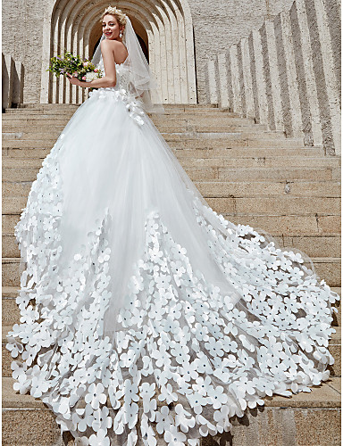 Báli ruha Pánt nélküli Katedrális uszály Tüll Made-to-measure esküvői ruhák val vel Kristály díszítés / Virág által LAN TING BRIDE®
