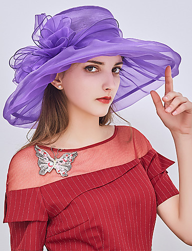 23b342beb46bd Women s Kentucky Derby Party Holiday Lace Bucket Hat Floppy Hat Straw Hat-Patchwork  Ruffle All Seasons Blushing Pink Gray Purple