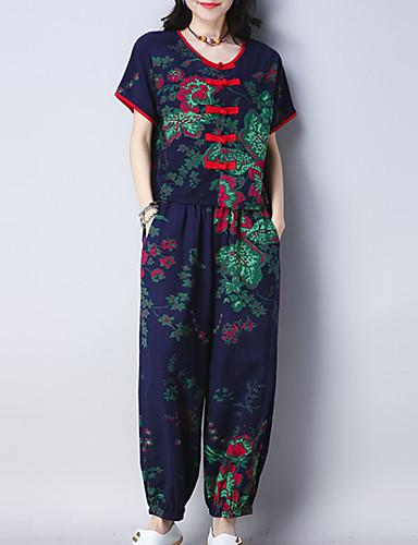 Pentru femei Zvelt Cămașă - Floral, Pantaloni