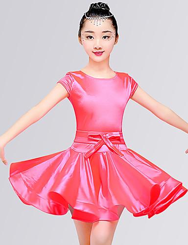 ca61b2343c64 Latin Dance Dresses Girls' Training / Performance Elastane Satin Bow /  Ruching Short Sleeve Natural Dress