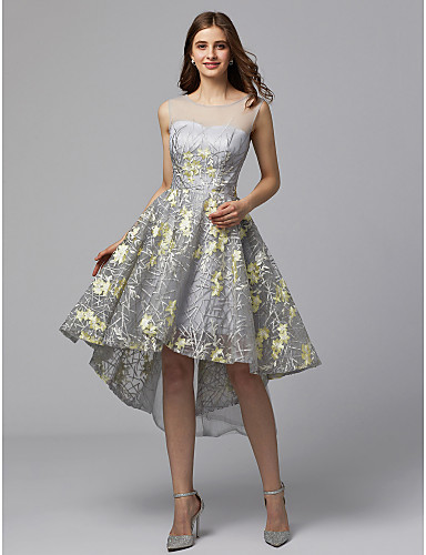 f8b2ebe72d33 play video. cheap Prom Dresses-A-Line Illusion Neck Asymmetrical Metallic  Lace High Low ...