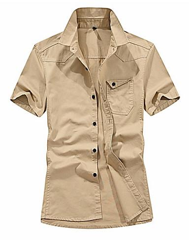 cămașa de bărbați ieșită - guler de cămașă solid colorat