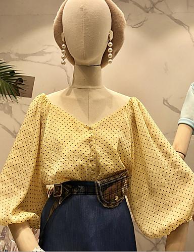 Pentru femei V Adânc Bluză Ieșire Vintage - Buline Sleeve Lantern / Larg