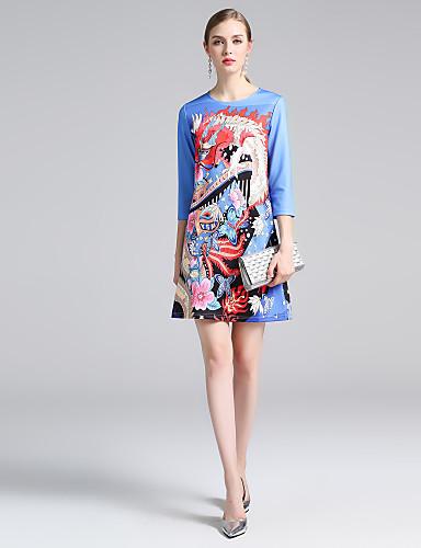 Pentru femei Mărime Plus Size De Bază Linie A Rochie - Imprimeu, Floral Sub Genunchi Albastru & Alb