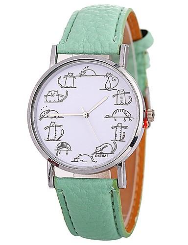 Xu™ Pentru femei Ceas de Mână Quartz Creative Mare Dial Amuzant PU Bandă Analog Modă minimalist Negru / Alb / Albastru - Rosu Verde Albastru Un an Durată de Viaţă Baterie