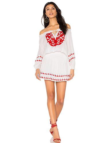 abordables Robes Femme-Femme Au dessus du genou Mince Tunique Robe Fleur Bateau Blanc M L XL Manches Longues