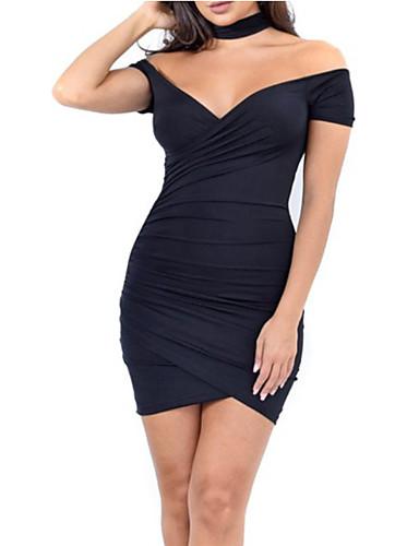 Pentru femei Ieșire Subțire Linie A Rochie Mată V Adânc Talie Înaltă Mini / Sexy