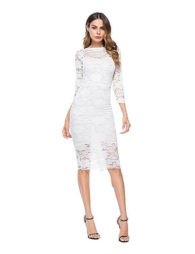 abordables Robes Femme-Femme Dentelle Sortie Mi-long Mince Mousseline de Soie Robe Blanc M L XL Manches Longues / Sexy