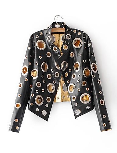 Pentru femei Ieșire / Club Sexy Primăvara & toamnă Regular Jachetă, Mată Stand Manșon Lung PU Găurite Auriu / Negru / Argintiu M / L / XL