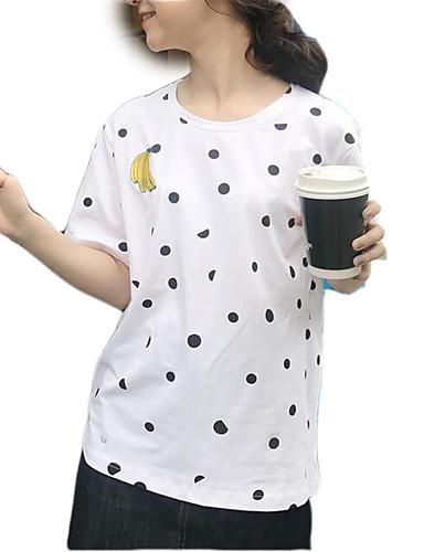 tricou pentru femei - polka dot round neck