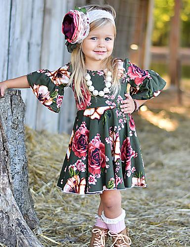 11fe37e04fc4e فستان نصف كم مطوي   طباعة ورد   طباعة مناسب للعطلات   مناسب للخارج رياضي  Active   أساسي للفتيات طفل   طفل صغير
