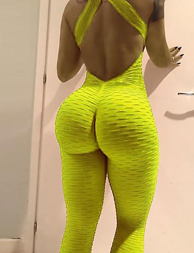 economico Leggings da Donna-Per donna Sexy Essenziale Gambale - Tinta unita, Retato Vita alta Nero Arancione Giallo S M L