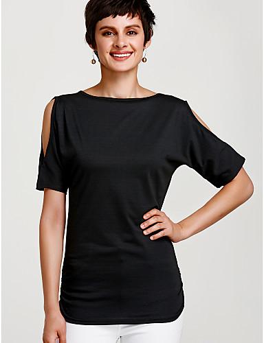billige Dametopper-Bomull V-hals T-skjorte Dame - Ensfarget Ferie Vin / Sommer