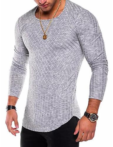 voordelige Heren T-shirts & tanktops-Heren Standaard / Militair Grote maten - T-shirt Katoen Effen Ronde hals Paars / Lange mouw