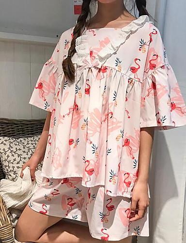 Žene Veći konfekcijski brojevi Maramasti rever Odijelo Pidžama - Mrežica, Jednobojni