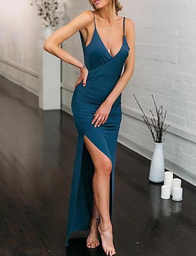 Žene Elegantno Korice Haljina - S izrezom, Jednobojni Maxi