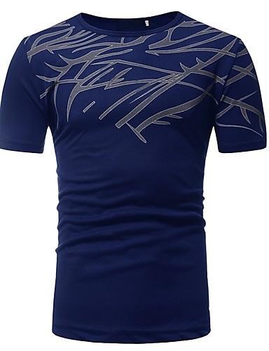 お買い得  メンズTシャツ&タンクトップ-男性用 プリント Tシャツ ベーシック ラウンドネック スリム ストライプ / カラーブロック コットン ブラック XL / 半袖