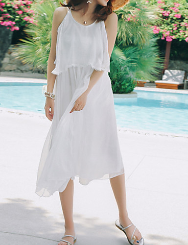 Žene Izlasci / Plaža Swing kroj Haljina S naramenicama Midi Visoki struk / Ljeto