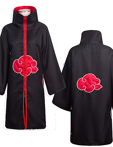 cheap Anime Costumes-Inspired by Naruto Akatsuki Anime Cosplay Costumes Cosplay Suits Anime Long Sleeve Cloak For Men's