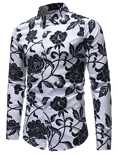 Overhemd Bloemen Boord.Heren Zakelijk Standaard Print Grote Maten Overhemd Club Bloemen
