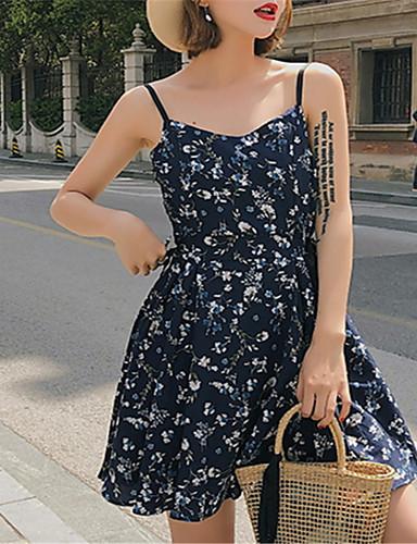 Žene Šifon Haljina Cvjetni print Iznad koljena