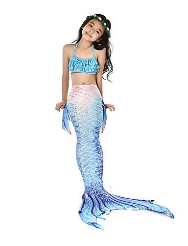 levne Cosplay na plavání-The Little Mermaid Malá mořská víla Plavky Děti Dívčí Den dětí Nový rok Festival / Svátek Polyester Modrá + zelená / Fuchsiová / Fialová Modrá Karnevalové kostýmy Mořská panna